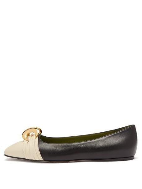 Gucci - Half Moon Gg Leather Ballet Flats - Womens - Black Cream cover image