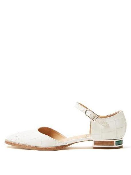 Gabriela Hearst - Riley Crocodile Effect Leather Flats - Womens - White cover image