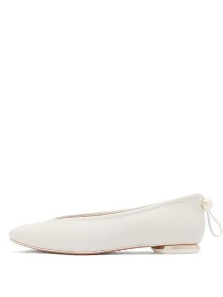 Nicholas Kirkwood - Delfi Pearl Toggle Leather Ballet Flats - Womens - White cover image