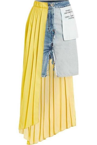 Unravel Project - Asymmetric Distressed Denim And Pleated Crepe De Chine Skirt - Light denim cover image