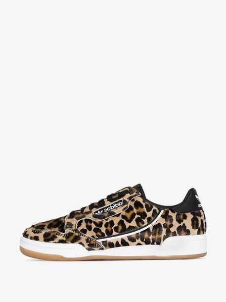 Adidas brown Continental leopard-print low-top sneakers cover image