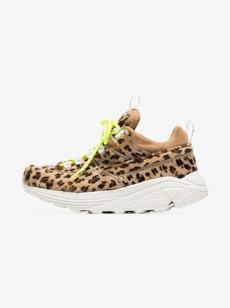 Diemme brown Monte Grappa leopard print ponyskin sneakers cover image