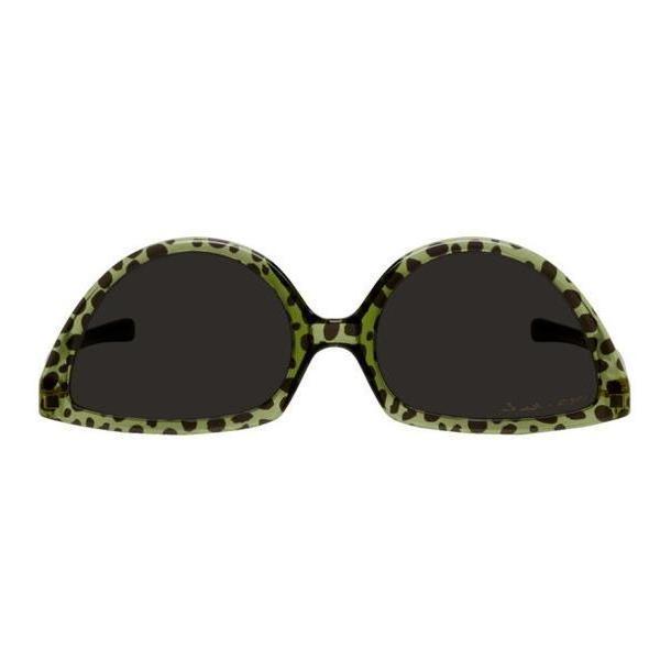 Martine Rose Green Mykita Edition Leopard Upside Down Sunglasses cover image