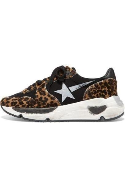 Golden Goose Deluxe Brand - Running Sole Distressed Leopard-print Calf Hair And Neoprene Sneakers - Leopard print cover image