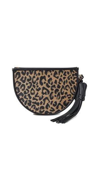 Poolside Bags Leopard Print Raffia Clutch cover image