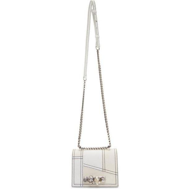 Alexander McQueen Off-White Denim Small Jewelled Satchel Bag cover image