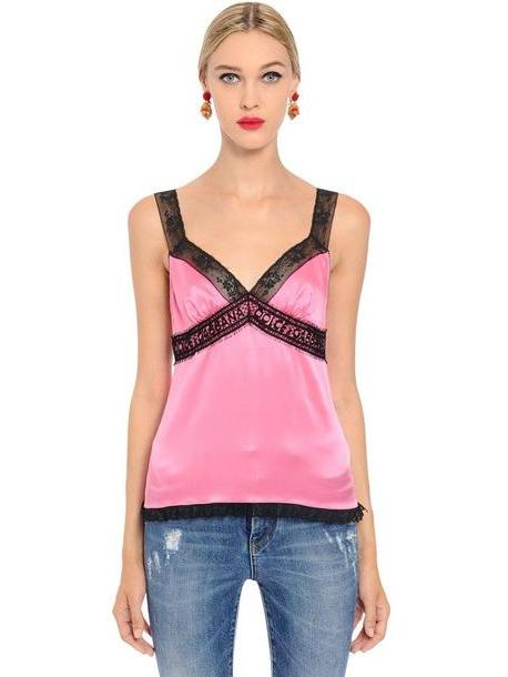 DOLCE & GABBANA Silk Satin Lingerie Top With Logo Lace in pink cover image