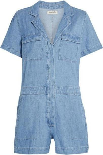 Madewell - Cotton And Linen-blend Playsuit - Mid denim cover image