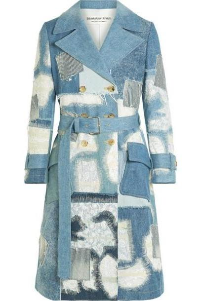 Junya Watanabe - Lace-trimmed Double-breasted Patchwork Denim Coat - Blue cover image