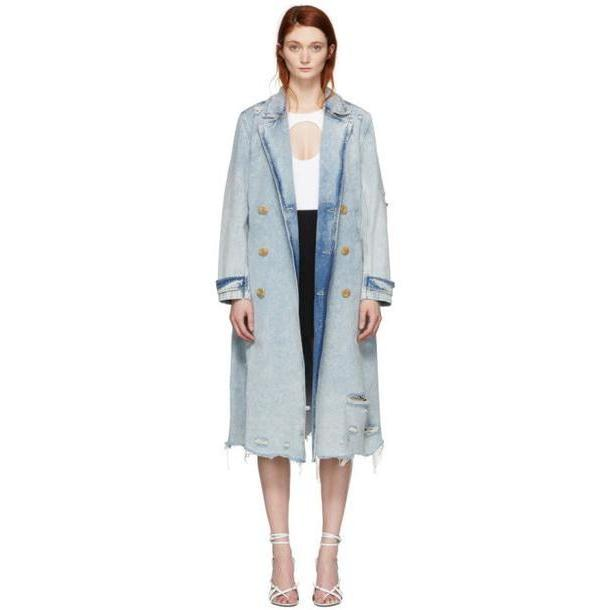 Alexander Wang Blue Denim Bleached Trench Coat cover image