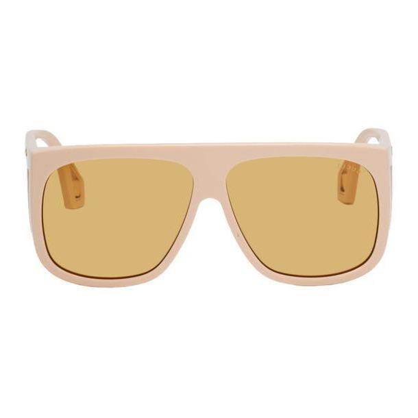 Gucci Beige Thick Acetate Shield Sunglasses cover image