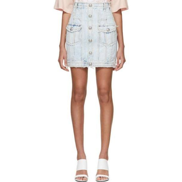 Balmain Blue Bleached Denim High Waist Skirt cover image