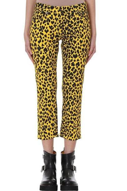 R13 Joey Jean Yellow Leopard Print Skinny Jeans cover image