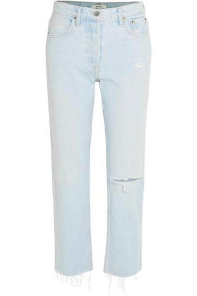 GRLFRND - Helena Distressed High-rise Straight-leg Jeans - Light denim cover image