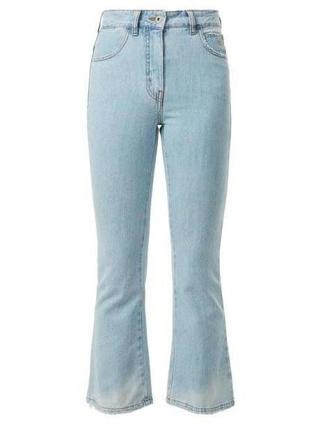 The Attico - Distressed Kick Flare Cropped Jeans - Womens - Denim cover image