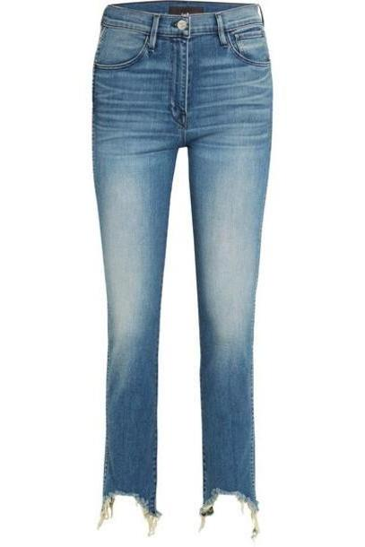 3x1 - W3 Straight Authentic Crop Distressed High-rise Straight-leg Jeans - Mid denim cover image