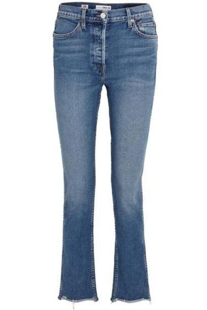 RE/DONE - Double Needle Long Frayed High-rise Slim-leg Jeans - Mid denim cover image