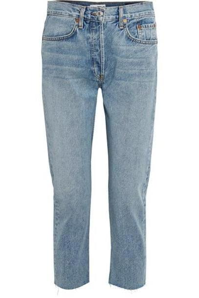 RE/DONE - Cropped Mid-rise Slim Boyfriend Jeans - Mid denim cover image