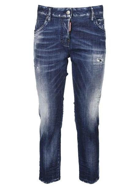 Dsquared2 Boyfriend Distressed Cropped Jeans in denim / denim cover image