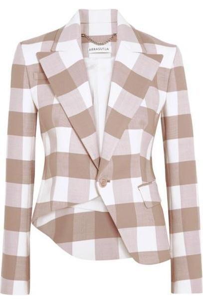 Altuzarra - Lazio Asymmetric Gingham Wool-blend Twill Blazer - Beige cover image