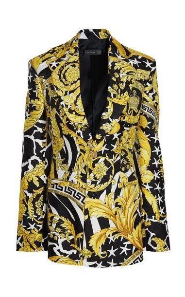 Versace Printed Silk Blazer in yellow cover image