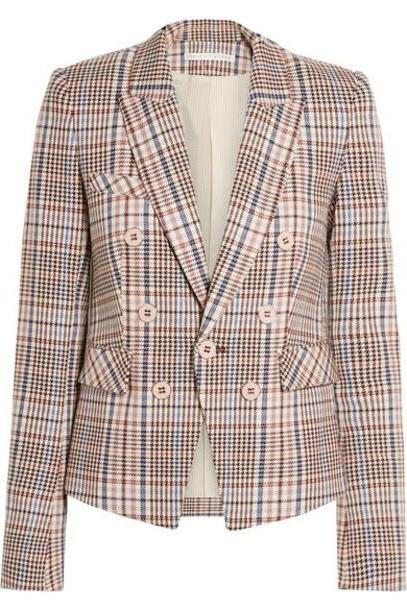 Veronica Beard - Diego Dickey Double-breasted Houndstooth Cotton-blend Blazer - Multi cover image