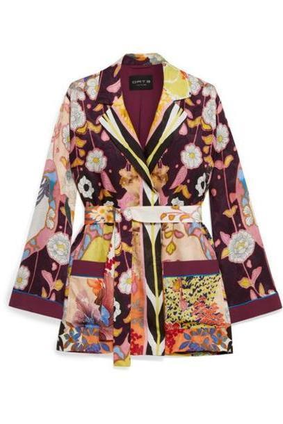 Etro - Floral-print Crepe De Chine Jacket - Purple cover image