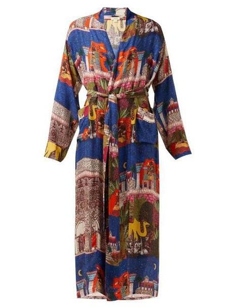 Chufy - Camel Tie Waist Robe Jacket - Womens - Blue Multi cover image