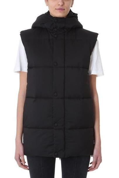 Givenchy Black Logo-print Hooded Puffer Jacket Gilet cover image