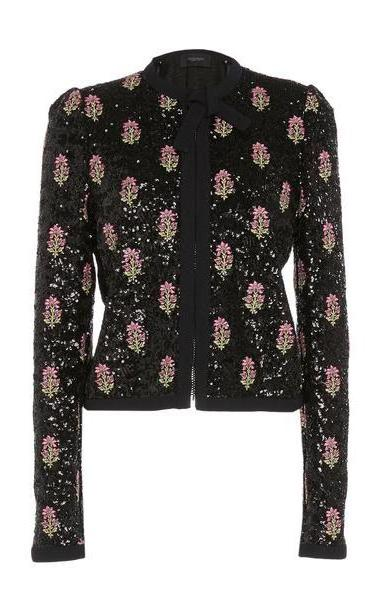 Giambattista Valli Sequin-Embroidered Collarless Jacket in print cover image