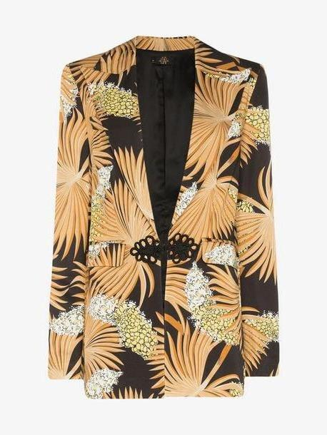 De La Vali Dean palm-print tailored blazer jacket cover image