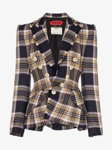 Ronald Van Der Kemp Check Print Fitted Wool Blazer cover image