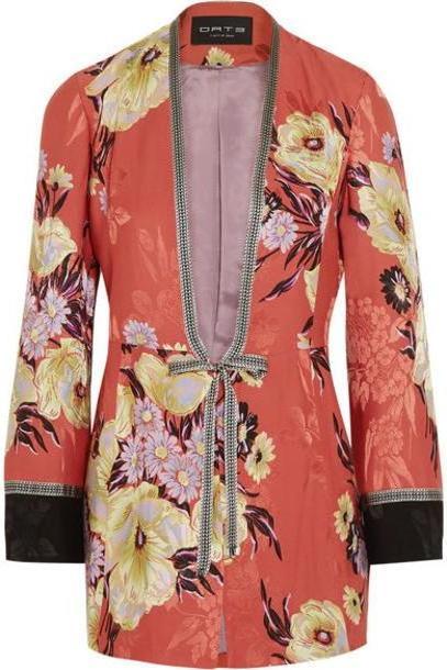 Etro - Floral-print Satin-jacquard Jacket - Coral cover image