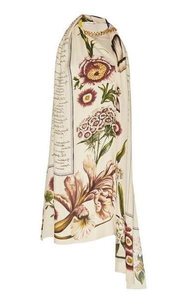 Oscar de la Renta Chain-Embellished Embroidered Silk Mini Dress in multi cover image