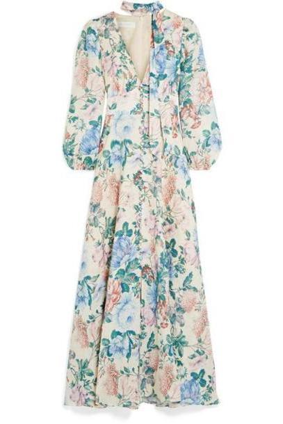 Zimmermann - Verity Floral-print Linen Maxi Dress - Sky blue cover image