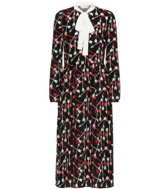 REDValentino Printed silk midi dress in black cover image