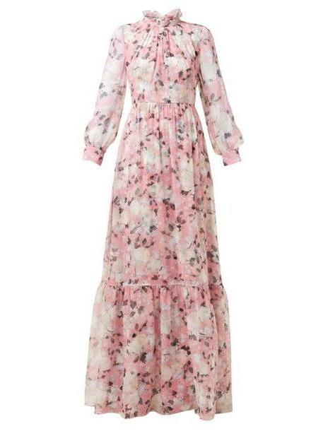 Erdem - Clementine Floral Print Silk Voile Gown - Womens - Pink Print cover image