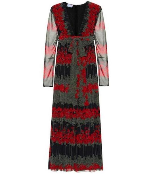 REDValentino Pleated floral midi dress in black cover image