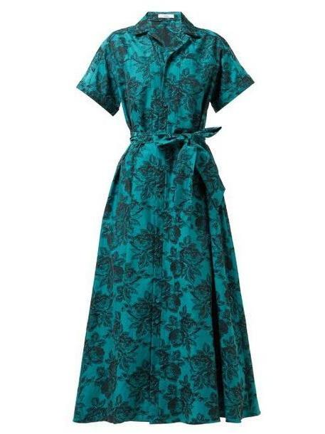 Erdem - Cypress Belted Floral Jacquard Midi Shirtdress - Womens - Green Multi cover image