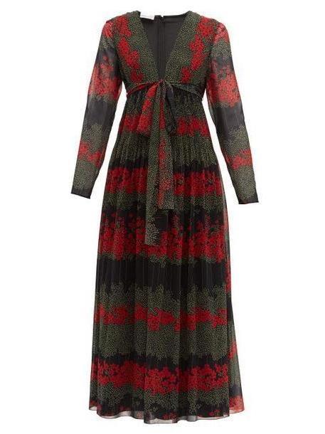 Redvalentino - Floral Print Chiffon Midi Dress - Womens - Black Multi cover image