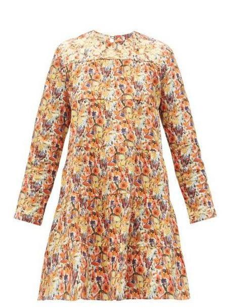 Muzungu Sisters - Lily Embroidered Floral Print Cotton Dress - Womens - Orange Multi cover image