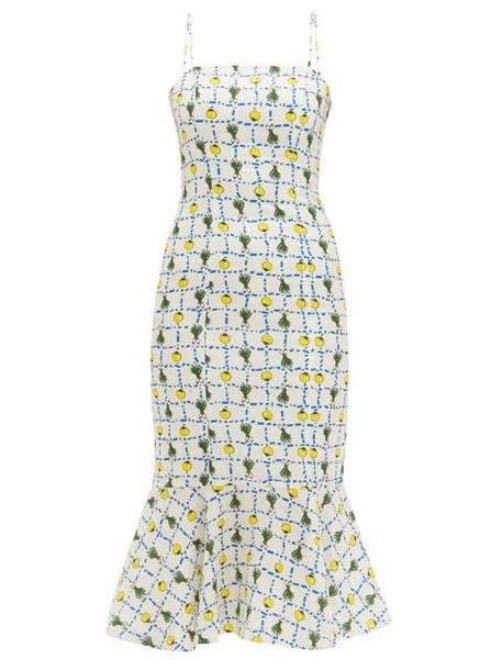 Staud - Vegetable Print Fishtail Hem Linen Midi Dress - Womens - Ivory Multi cover image