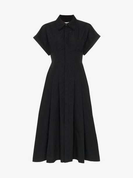 Three Graces Alette Button-Down Cotton Shirt Dress in black cover image