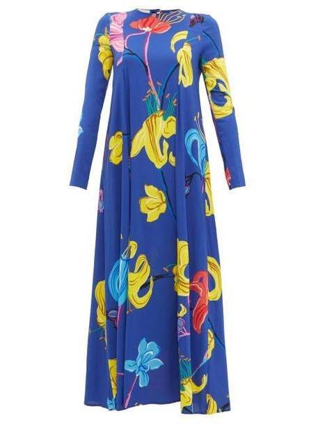 La Doublej - Trapezio Floral Print Crepe Dress - Womens - Blue Multi cover image