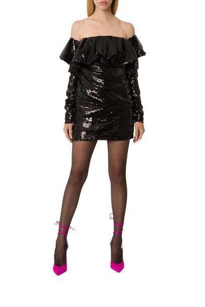 ATTICO Sequined Mini Dress in nero cover image