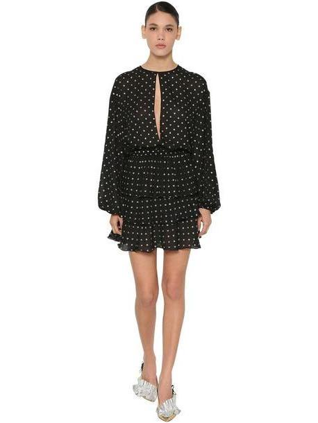 MSGM Pm Dot Print Lurex Chiffon Mini Dress in black cover image
