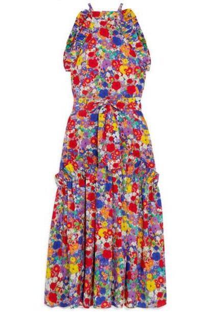 Borgo De Nor - Dora Floral-print Crepe De Chine Halterneck Maxi Dress - Pink cover image