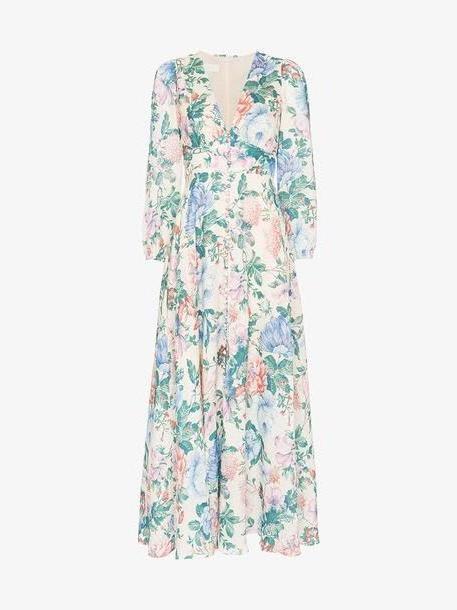 Zimmermann Verity Plunge floral print cotton linen blend dress cover image
