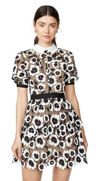Self Portrait Abstract Floral Guipure Mini Dress in black / ivory cover image