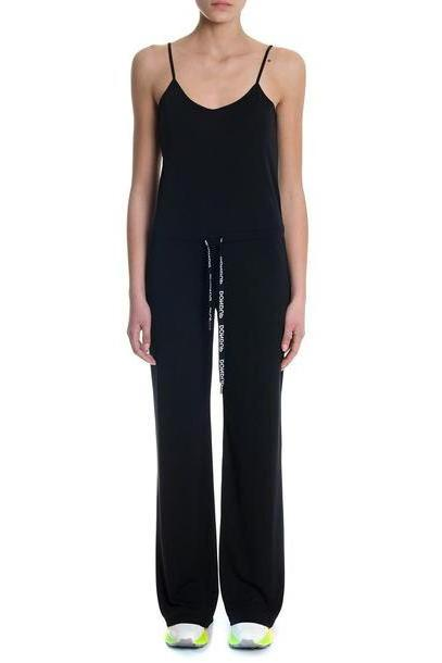 Dondup Black Jumpsuit With Logoed Drawstring cover image